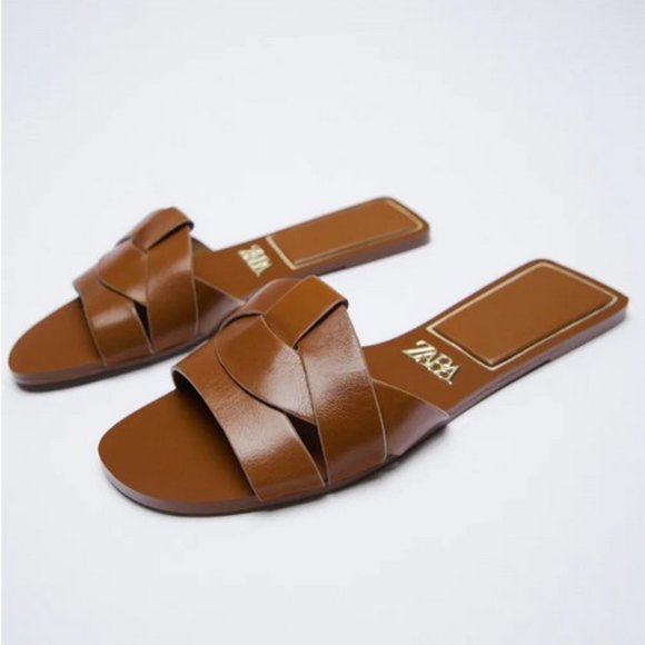 Size 10 (UK 41) Zara Slides in Brown (Saint Laurent Dupes) - NEVER WORN